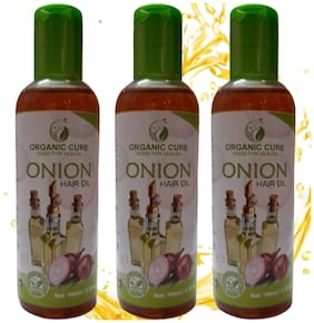 Organic Cure Onion Oil for Hair Growth and Hair Fall Control with Castor Oil 100ml Pack of 3