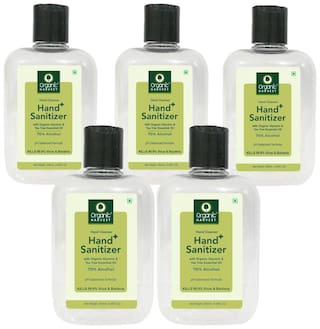 Organic Harvest Instant Anti - Bacterial Gel Hand Sanitizer & Hand Cleanser with Organic Glycerin & Tea Tree Essential Oil 70% Alcohol  250ml (Pack of 5)