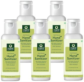 Organic Harvest Instant Anti - Bacterial Gel Hand Sanitizer & Hand Cleanser with Organic Glycerin & Tea Tree Essential Oil 70% Alcohol  100ml (Pack of 5)