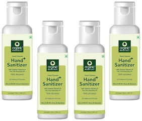 Organic Harvest Instant Anti - Bacterial Gel Hand Sanitizer & Hand Cleanser with Organic Glycerin & Tea Tree Essential Oil;70% Alcohol;Kills 99.9% Virus & Bacteria;100ml (Pack of 4)