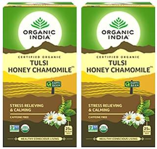 Organic India Tulsi Honey Chamomile - 25 Tea Bags ( Pack of 2 )