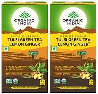 Organic India Tulsi Lemon Ginger 25 Teabags (Pack Of 1)