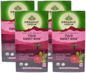 Organic India Tulsi Sweet Rose 25 Tea Bags (Pack Of 4)