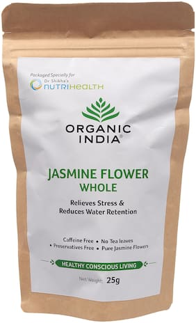 Organic India Jasmine Flower Stress Reliever & Water Reduction in body 25g Each (Pack Of 2)