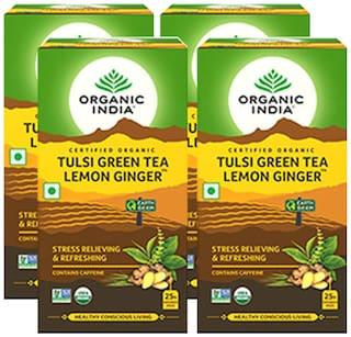 Organic India Tulsi Green Tea Lemon Ginger 25 Teabags (Pack of 4)