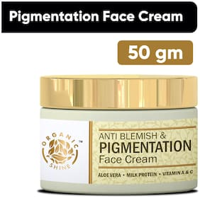 Organic Shine Anti Blemishes & Pigmentation Face Cream for Dark Skin and Spot Removal Enriched with Glycolic Acid,Kojic Acid,Aloe Vera,Vitamin A & Vitamin C 50 g