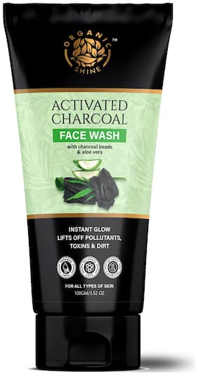 Organic Shine Activated Charcoal face wash for deep cleansing, pollution & oil control, De tan for men & women Face Wash100g