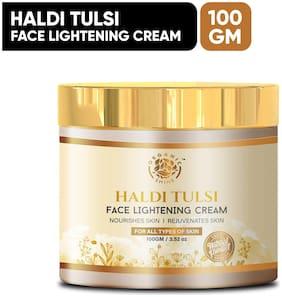 Organic Shine Haldi Tulsi Face Lightening Cream for Reduces Marks, Dark Sports, Dry and Oily Skin Cream for Women with Tulsi, Turmeric, Cucumber, Lemon & Carrot100g