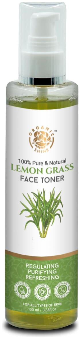 Organic Shine Lemon Grass Face Toner with Cucumber for Control Acne,Pimples,Deep Cleans the Pores & Balance pH of Skin 200 ml