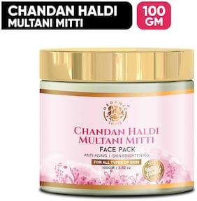 Organic Shine Natural Chandan Haldi Multani Mitti Face Pack for Anti Aging,Skin Brightening & Lightens the Skin 100 g