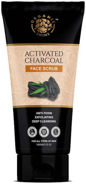 Organic Shine Activated Charcoal Face Scrub Deep cleansing, anti-acne & Pimples, Blackheads removals for men & women100g