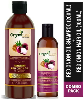 Organicure Red Onion Hair Growth shampoo-200ml and Red Onion Black Seed Anti hair Fall Oil-100ml Combo (Pack of 2)