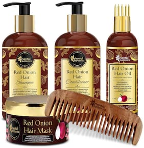 Oriental Botanics Red Onion Hair Shampoo 300ml & Conditioner 300ml & Hair Oil 100ml & Hair Mask 200ml & 1 pc Neem Comb Pack of 5