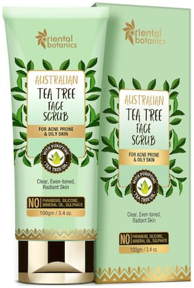 Oriental Botanics Australian Tea Tree Face Scrub 100g For Acne Prone & Oily Skin, No SLS and Paraben (Pack Of 1)