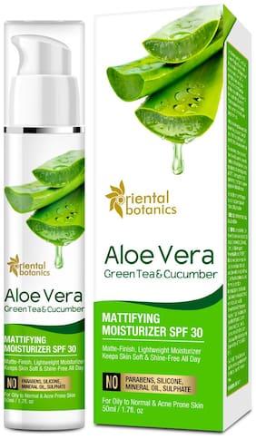 Oriental Botanics Aloe Vera, Green Tea & Cucumber Mattifying Moisturizer SPF 30, 50ml Pack of 1