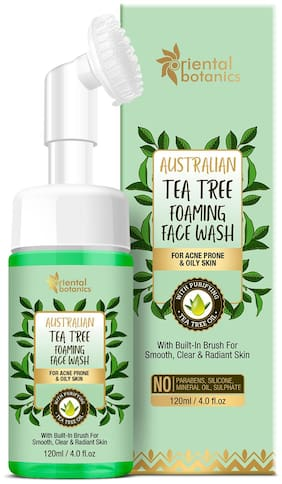 Oriental Botanics Australian Tea Tree Foaming Face Wash 120 ml For Acne Prone & Oily Skin, No SLS and Paraben (Pack Of 1)