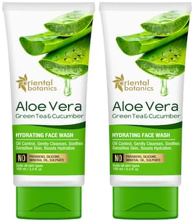 Oriental Botanics Aloe Vera, Green Tea & Cucumber Hydrating Face Wash - No Sulphate, Paraben, Silicone, 100ml each (Pack Of 2 )