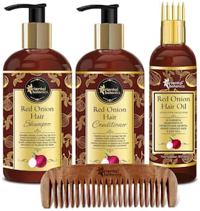 Oriental Botanics Red Onion Hair Shampoo 300ml & Conditioner 300ml & Hair Oil 100ml & 1 pc Neem Comb Pack of 4