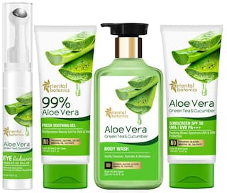 Oriental Botanics Aloe Vera,Green Tea & Cucumber Skin Radiance Combo (body wash-100ml,fresh smoothing gel - 100ml,eye radiance -15ml,sunscreen -100ml) (Pack Of 4)