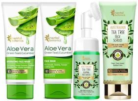 Oriental Botanics Hydrating Skin Care Aloe Vera Face Wash 100ml  Face Mask 100ml  Tea Tree Face Wash 120ml  Face Scrub 100g (Pack of 4)