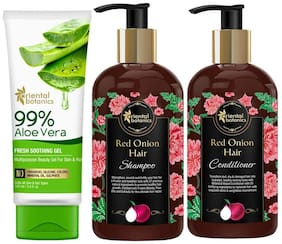 Oriental Botanics Red Onion Combo Shampoo 300ml  Conditioner 300ml  99% Aloe Vera Gel 100ml (Pack of 3)