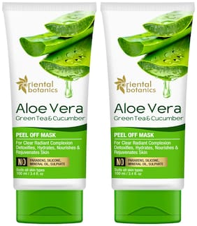 Oriental Botanics Aloe Vera Green Tea & Cucumber Peel Off Mask 100ml (Pack Of 2 )