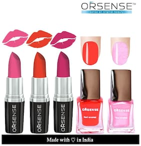 ORSENSE Latest Collections New Lipstick 3pcs And Nail Polish 2pcs Combo
