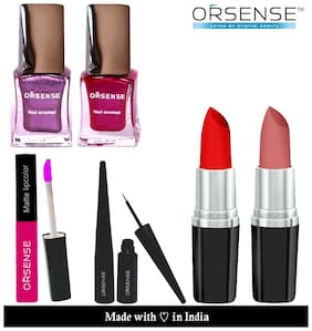 Orsense Lipstick;Nail Polish;Eye Liner;Liquid Lip Color And Kajal Cone( Pack of 6)