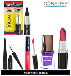 Orsense Lipstick;Nail Polish;Eye Liner;Liquid Lip Color And Kajal Cone( Pack of 5)