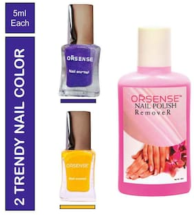 Orsense Nail Enmel Combo 50mlx2 And Nail Polish Remover 50ml (Pack of 3)