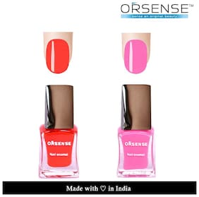 ORSENSE Nail Paint Pack of 2 (5ml Each) Red, Pink