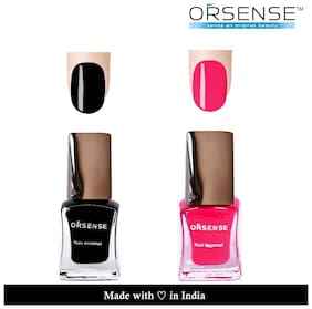 ORSENSE Nail Paint Pack of 2 (5ml Each) Pink, Black