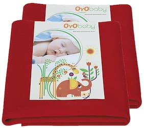 OYO BABY- Baby Bed Protector | Waterproof Dry Sheet Small Combo Pack of 2 Red (Each Size : 50 cm x 70 cm)