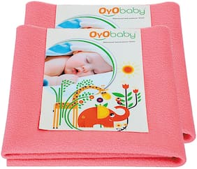 OYO BABY- Baby Bed Protector | Waterproof Dry Sheet Large Combo Pack of 2 coral (Each Size : 100 cm x 140 cm)