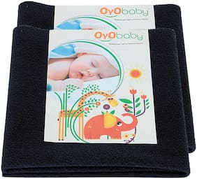 OYO BABY- Baby Bed Protector | Waterproof Dry Sheet Large Combo Pack of 2 dark blue(Each Size : 100 cm x 140 cm)