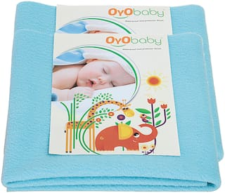OYO BABY- Baby Bed Protector | Waterproof Dry Sheet Large Combo Pack of 2 aqua blue(Each Size : 100 cm x 140 cm)