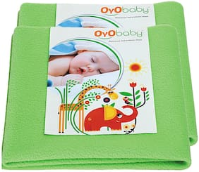 OYO BABY- Baby Bed Protector | Waterproof Dry Sheet Medium Combo Pack of 2 light green(Each Size : 70 cm x 100 cm)