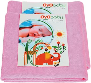 OYO BABY- Baby Bed Protector | Waterproof Dry Sheet Small Combo Pack of 2 pink (Each Size : 50 cm x 70 cm)