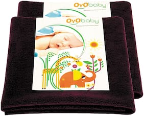 OYO BABY- Baby Bed Protector | Waterproof Dry Sheet Medium Combo Pack of 2 plum (Each Size : 70 cm x 100 cm)
