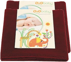 OYO BABY- Baby Bed Protector | Waterproof Dry Sheet Small Combo Pack of 2maroon (Each Size : 50 cm x 70 cm)