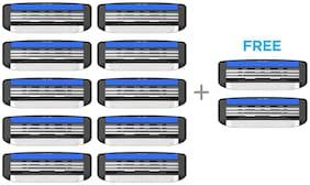 LetsShave Pro 3 Shaving Razor Blades for Men, Pack of 10 Blades Cartridge + Free Pack of 2 Blades Cartridge (12-Count)