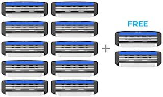 LetsShave Pace 3 Shaving Razor Blades for Men, Pack of 10 Blades Cartridge + Free Pack of 2  Blades Cartridge  (12-Count)