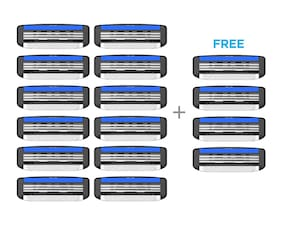 LetsShave Pace 3 Shaving Razor Blades for Men, Pack of 12 Blades Cartridge + Free Pack of 4 (16-Count)