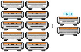 LetsShave Pro  4 Shaving Razor Blades for Men, Pack of 10 Blades Cartridge + Free Pack of 2 Blades Cartridge (12-Count)