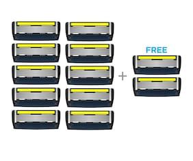 LetsShave Pace 6 Pro Shaving Razor Blades for Men, Pack of 10 Blades Cartridge + Free Pack of 2 Blades Cartridge (12-Count)