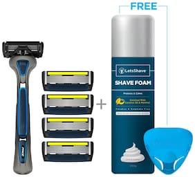 LetsShave Pro 6 Advance Shaving - Pro 6 Advance Blade + Razor Handle + Razor Cap + Shaving Foam 200 G
