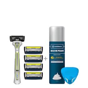 Letsshave Pace 6 Pro Shaving - Pace 6 Pro Blade With Trimmer X 4 + Razor Handle + Razor Cap + Shaving Foam 200 G