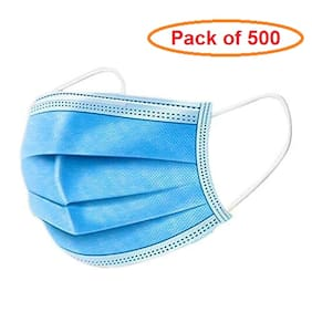 pack of 500 -  3 Ply Disposable Face Mask Comfortable Non Surgical Safety Mask & Universal Breathable With Ear Loop & Nose Pin