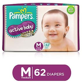 Pampers  Active Baby Diapers - Medium (6-11 kg) 62 pcs