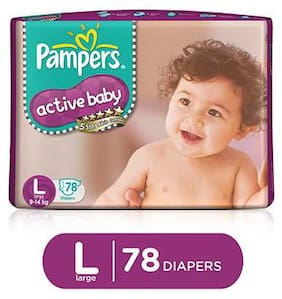 Pampers Active Baby Diapers - Large (9-14 Kg) 78 Pcs